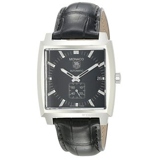 Tag Heuer Men's WW2110.FC6177 'Monaco' Automatic Black Leather Watch