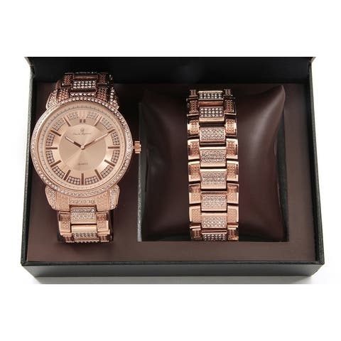 Bling Bling Mens Hip Hop with Class Watch and Matching Bracelet in Elegant Gift - rose gold
