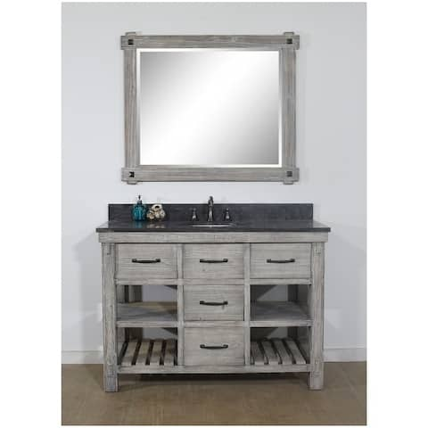 """48""""Rustic Solid Fir Single Sink Vanity in Grey-Driftwood Finish with Marble Top-No Faucet"""