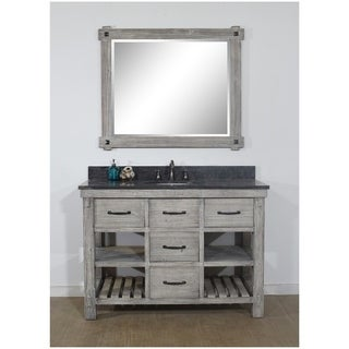 "48""Rustic Solid Fir Single Sink Vanity in Grey-Driftwood Finish with Marble Top-No Faucet"