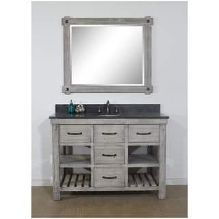 """48""""Rustic Solid Fir Single Sink Vanity in Grey-Driftwood Finish with Marble Top"""