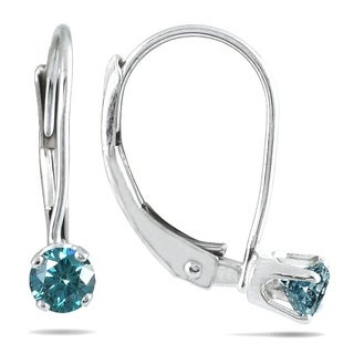 1/4 Carat TW Blue Diamond Lever Back Earrings in 14K White Gold