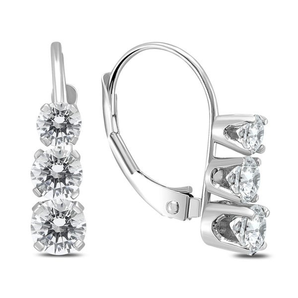 e9ef0c7f4eb3e9 Shop 1 Carat TW Three Stone Drop Earrings in 14K White Gold - On Sale -  Free Shipping Today - Overstock - 20751128