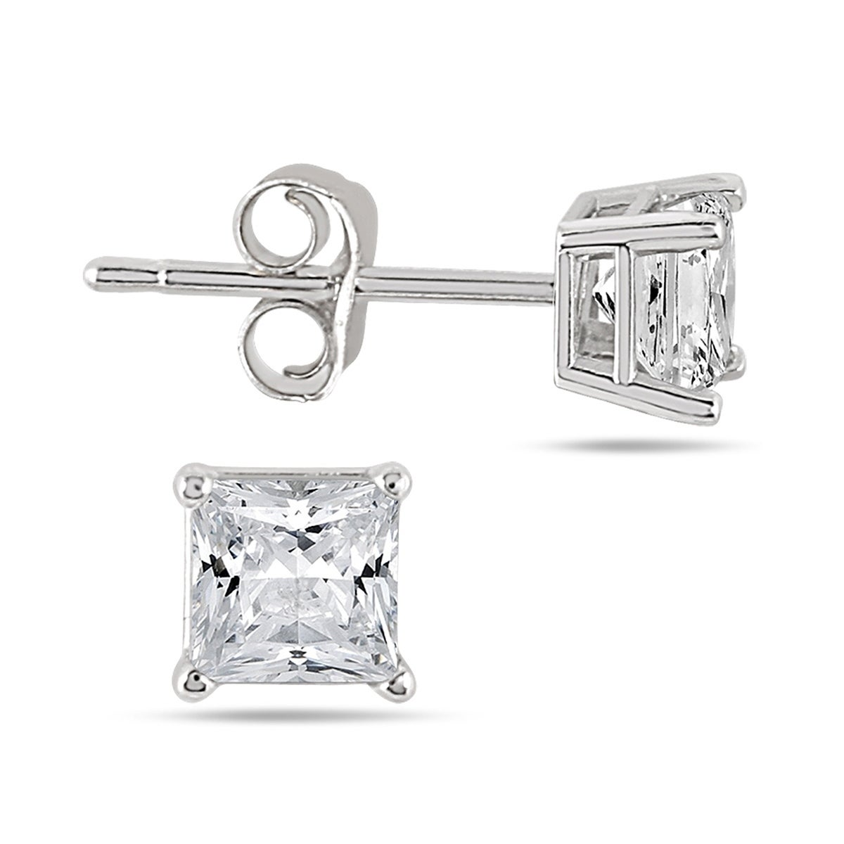 d83dccab3 Shop 1/2 Carat TW Princess Diamond Studs in 14K White Gold (H-I Color,  SI1-SI2 Clarity) - On Sale - Free Shipping Today - Overstock - 20751131