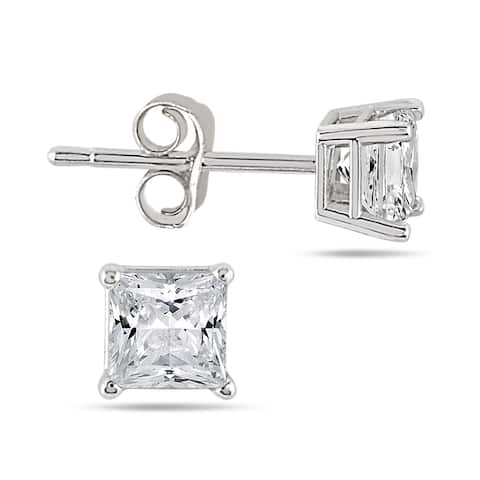 1/2 Carat TW Princess Diamond Studs in 14K White Gold (H-I Color, SI1-SI2 Clarity)