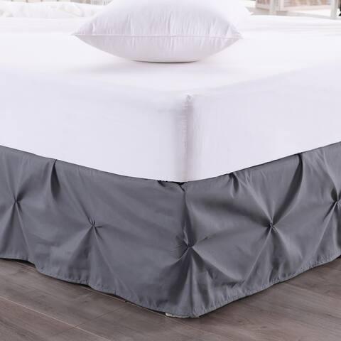 Hudson Pintuck 14-Inch Drop Bedskirt (Twin, Full, Queen, King) Grey