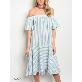 JED Women's Cotton Poplin Striped Off Shoulder Tunic Dress