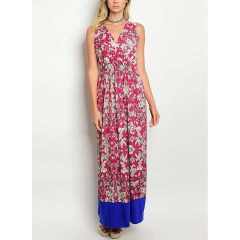 JED Women's Paisley Print Elastic Waist Sleeveless Long Dress