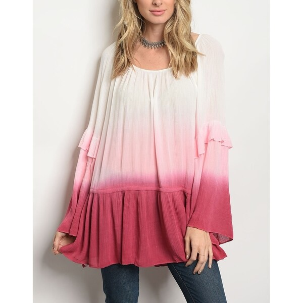 JED Women's Ombre Relax Fit Bell Sleeve Tunic Top