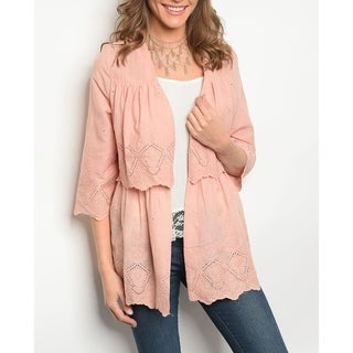 JED Women's 3/4 Sleeve Cotton Open Front Cardigan Top