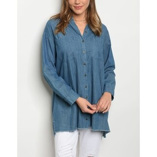 JED Women's Oversized Denim Button Down Overshirt