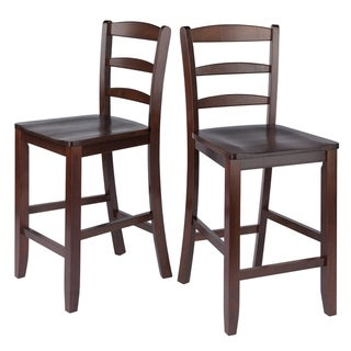 """Link to Benjamin 2-PC Ladder Back 24"""" Counter Stool Set Antique Walnut Similar Items in Table Games"""