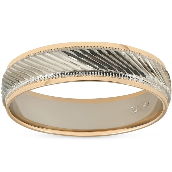 f3a2d2cda5b04 Pompeii3 14k White & Yellow Gold Two Tone Brushed Wedding Band 6MM Mens  Ring Comfort Fit
