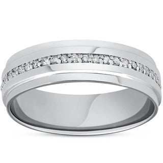 Bliss 14k White Gold 3/8 ct TDW Diamond Eternity Ring Mens 7MM High Polished Step Cut Wedding Band