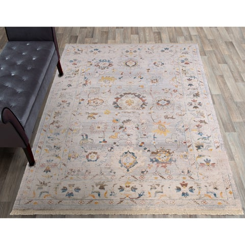 """Rutherford Gray Area Rug with Ivory Border - 7'10""""x10'2"""""""