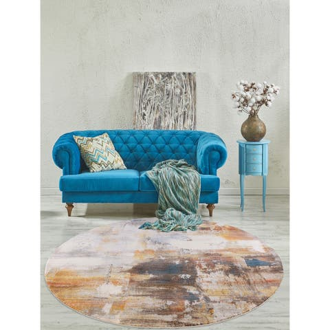 """Rutherford Gray Abstract Round Area Rug - 6'7"""""""