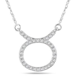 1 4 Carat TW Diamond Taurus Zodiac Pendant 10K White Gold