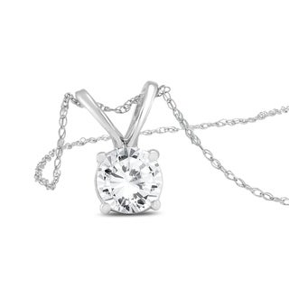 PREMIUM QUALITY - 1 Carat Diamond Solitaire Pendant in 14K White Gold (E-F Color, SI1-SI2 Clarity)