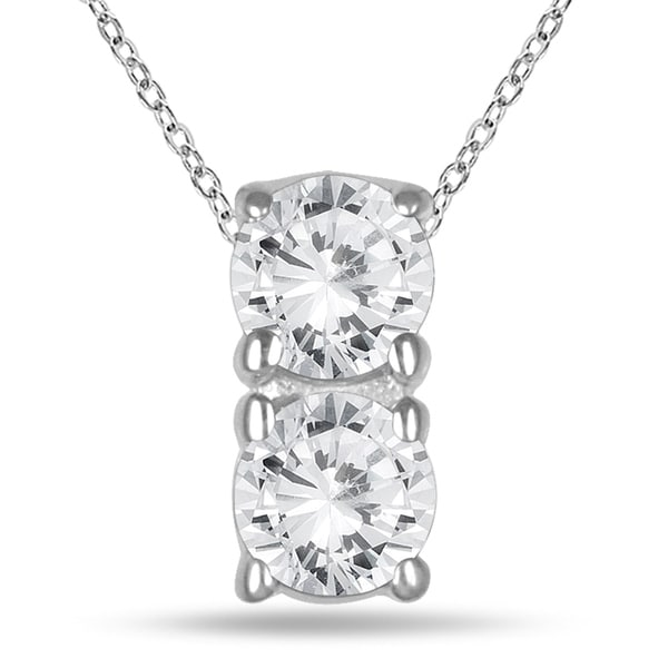 e03591e2ddfbb 1/2 Carat TW Two Stone Diamond Pendant in 14K White Gold