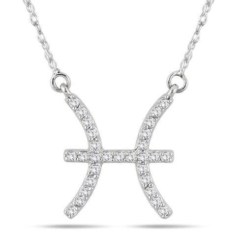 1/5 Carat TW Diamond Pisces Zodiac Pendant 10K White Gold