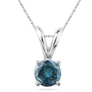 1 3 Carat Round Blue Diamond Solitaire Pendant In 14K White Gold