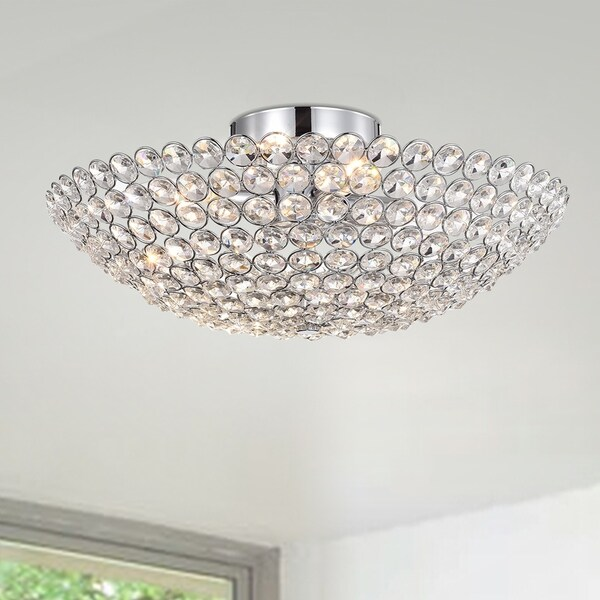 Nanise 4 Light Crystal Bowl Semi Flush Ceiling Lamp