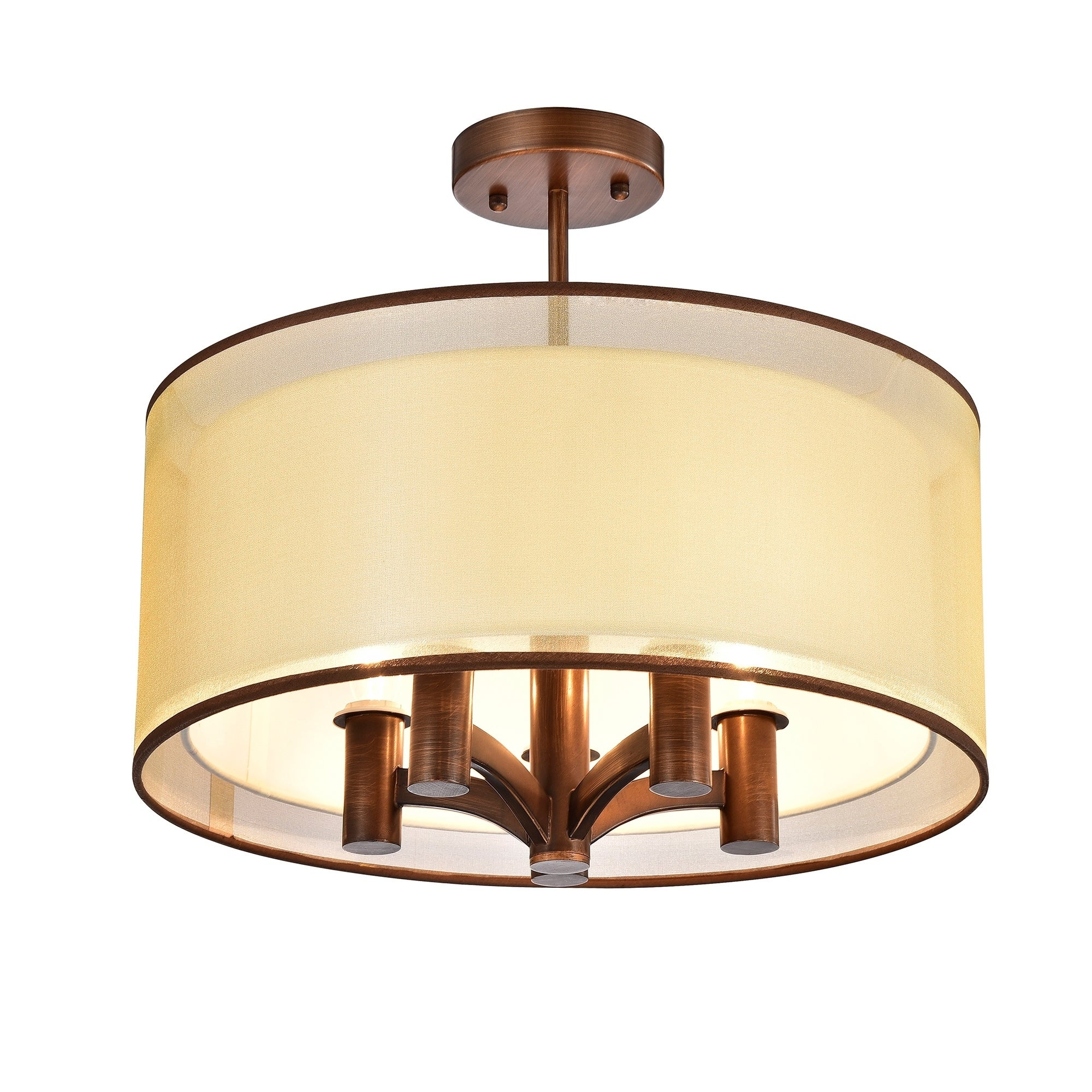 Perser 5 Light Copper Semi Flush Mount With Fabric Shade