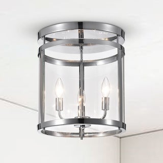 Nuwan 3-Light Chrome Drum Flush Mount