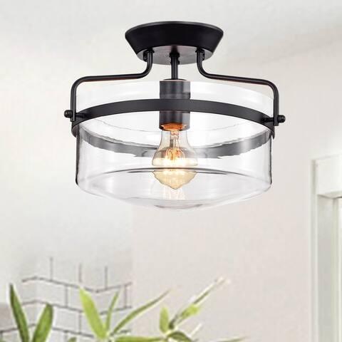 Merwin 1-Light Matte Black Semi-Flush Ceiling Lamp
