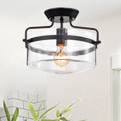 Merwin 1-Light Matte Black Semi-Flush Ceiling Lamp