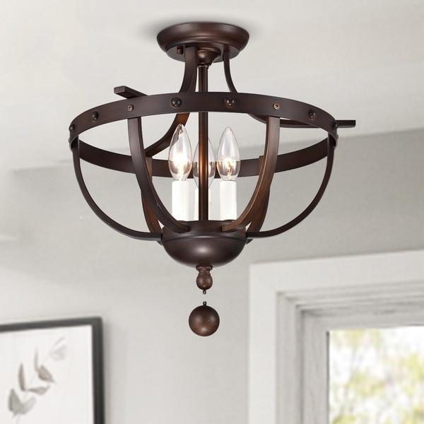 shop bopelo faux wood grain metal 3 light semi flush ceiling lamp