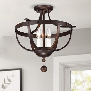 Bopelo Faux Wood Grain Metal 3-Light Semi-Flush Ceiling Lamp