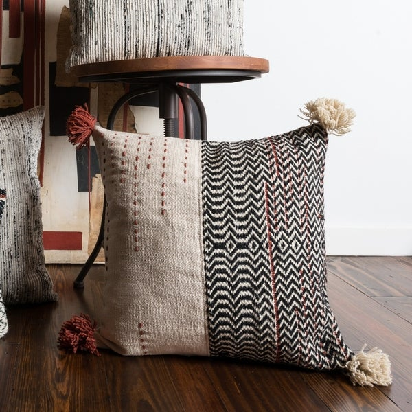 Woven Ivory/ Black Bohemian Geometric Throw Pillow or Pillow Cover