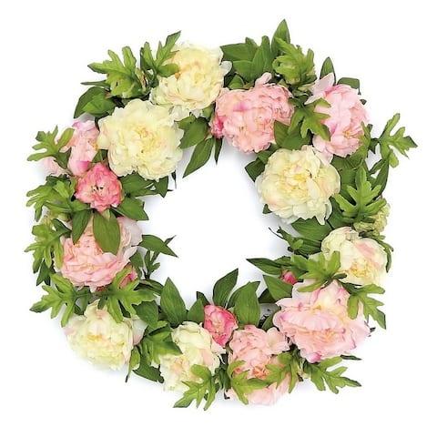 Lush Silk Garden Peony Wreath