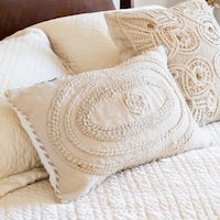 Embroidered Ivory Corded 13 x 21 Throw Pillow or Pillow Cover