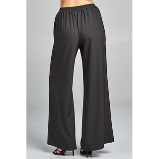 JED Women's Wide Leg Woven Pants with Waist Tie