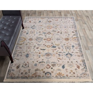 "Rutherford Ivory Distressed Floral Area Rug - 5'3""x7'7"""