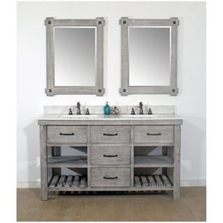 """60""""Rustic Solid Fir Double Sink Vanity in Grey-Driftwood Finish with Marble Top-No Faucet"""