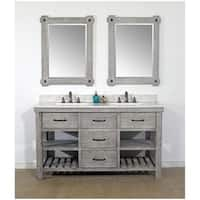 "60""Rustic Solid Fir Double Sink Vanity in Grey-Driftwood Finish with Marble Top-No Faucet"