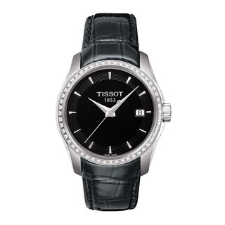 Tissot Women's T0352106605100 'Couturier' Diamond Black Leather Watch