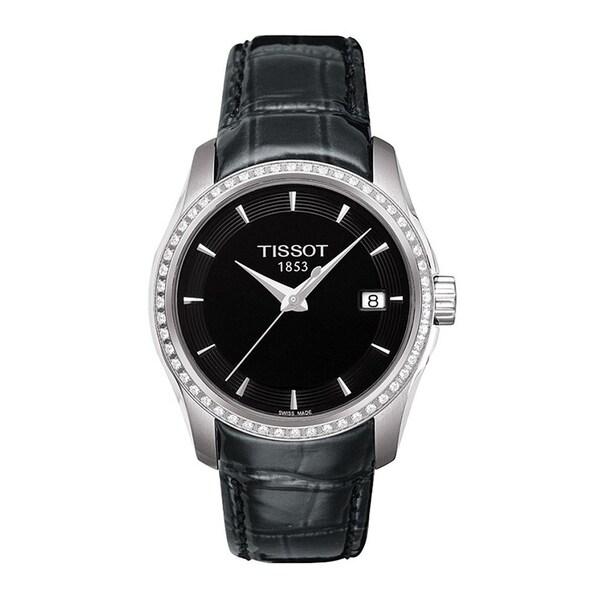 Shop Tissot Women s  Couturier  Diamond Black Leather Watch - Free ... 1b5689c581c