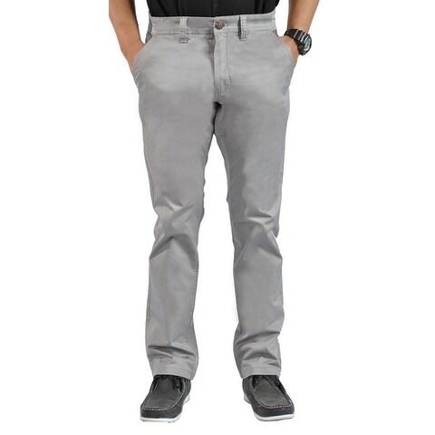 Mens Stretch Cross Belt Chino Straight Leg Pants Long Gray Marl