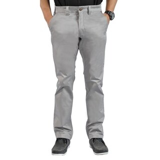 Mens Stretch Cross Belt Chino Straight Leg Pants Long Gray Marl