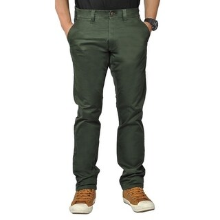 Mens Stretch Cross Belt Chino Straight Leg Pants Long Black Forest (5 options available)