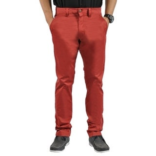 Mens Stretch Cross Belt Chino Straight Leg Pants Long Fired Brick