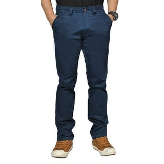 Mens Stretch Cross Belt Chino Straight Leg Pants Long Navy (5 options available)