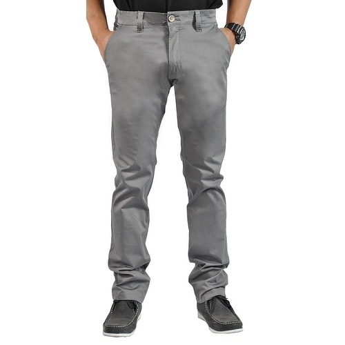 Shop Mens Stretch Chino Straight Leg Pants Regular Dark Gray On