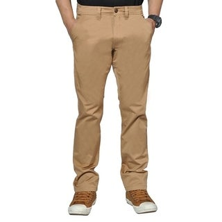 Mens Stretch Cross Belt Chino Straight Leg Pants Long Tobacco