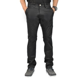 Mens' Stretch Cross Belt Black Chino Straight Leg Pants