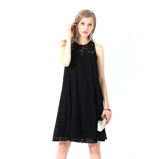 Ultrapink Missy Black Classy Allover Lace Sleeveless Trapeze Dress Must Have